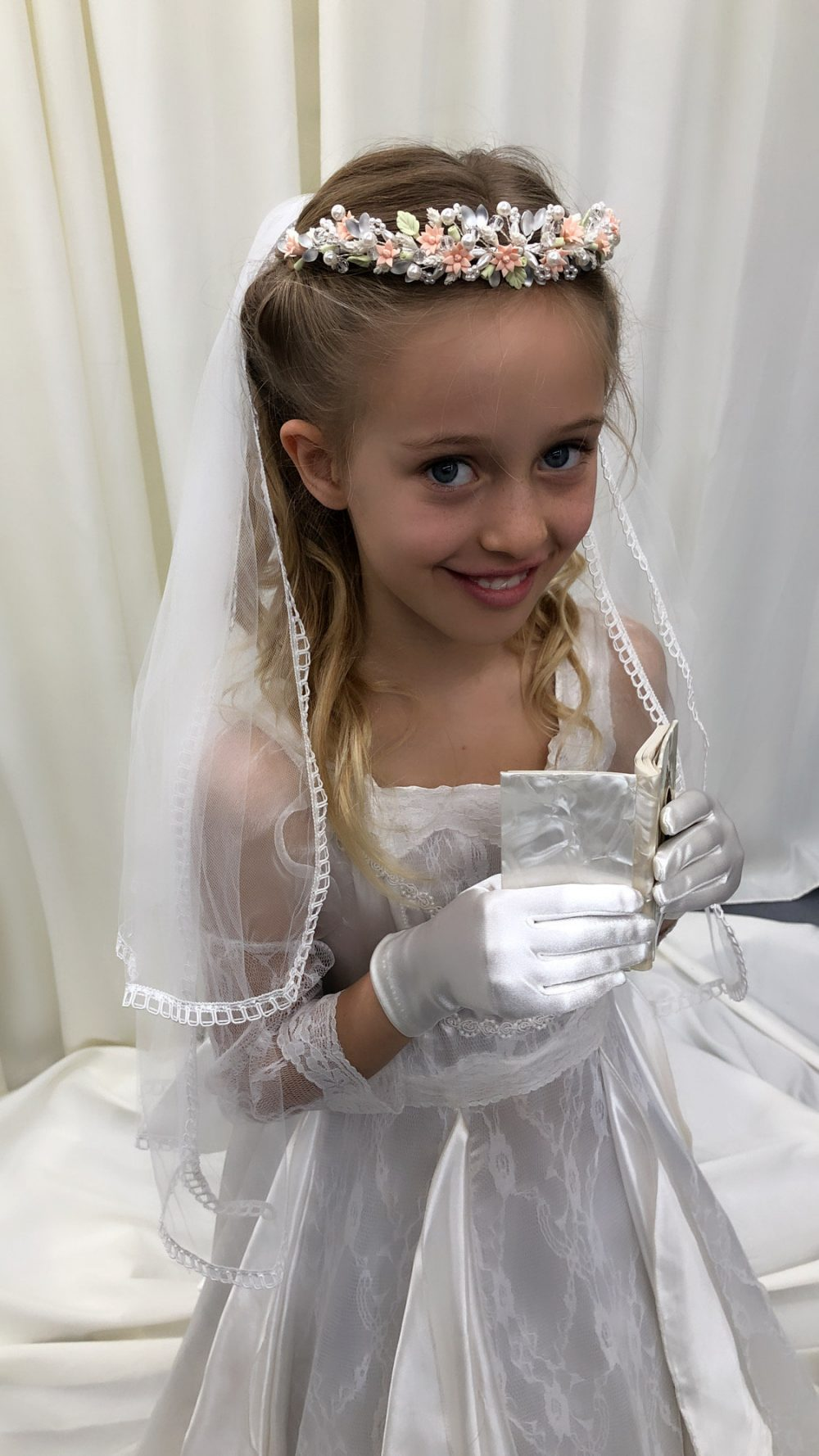 Holy Communion Veil, White First Two Tier Veil Edged With Satin Loop Trim, Bridal Flower Girl Wedding