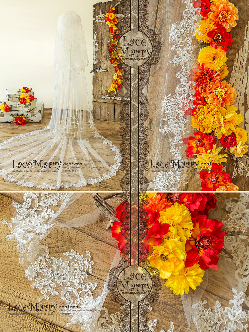 Cathedral 2 Tier Veil With Lace, Double Layer Bridal Embroidered Ivory Applique, Tulle Wedding Floral Applique Lace Hem