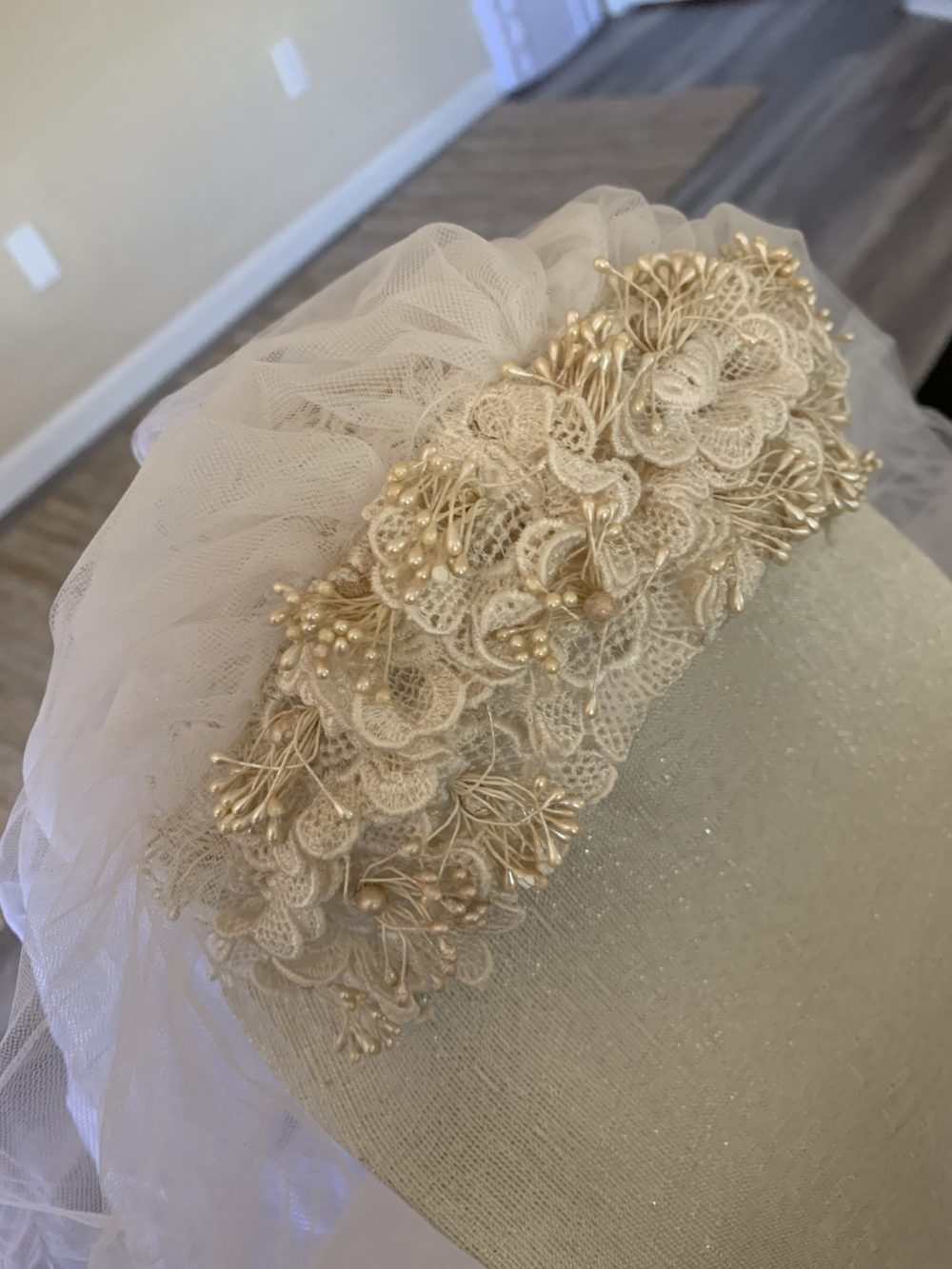 Vintage Ivory Headpiece & Tulle 2 Layer Tier Veil Bridal Wedding Accessory
