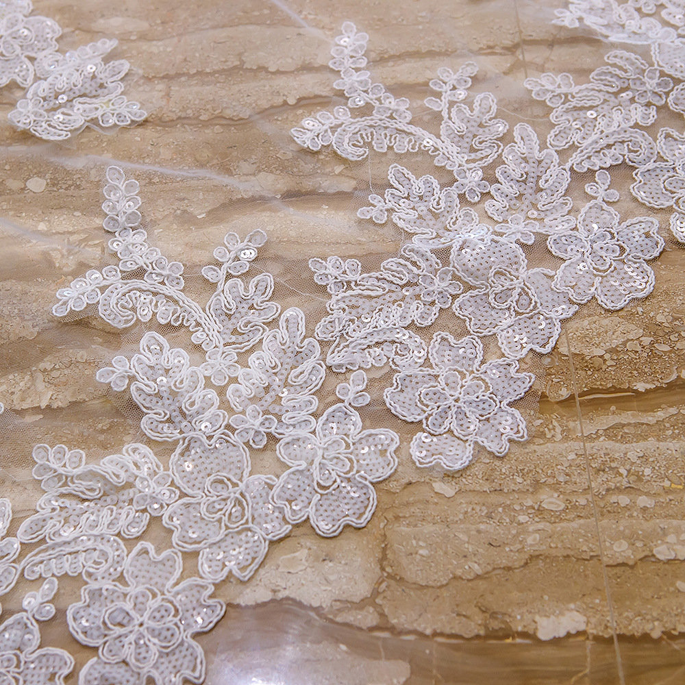 Delicate Sequined Lace Veil, Cathedral Wedding Veil, Wedding Veil, Double 2 Layer Veil, Two Tier Veil, Super Long Veil, Church Veil(Vy18