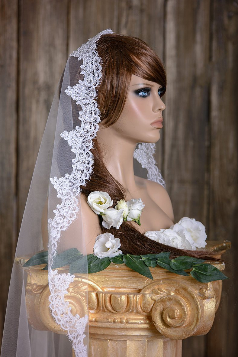 Bridal Veil, Lace Veil, Mantilla Veil, Wedding Veil, Two-Tier Veil, Two Tier Cathedral Length, Fingertip Wedding Veil