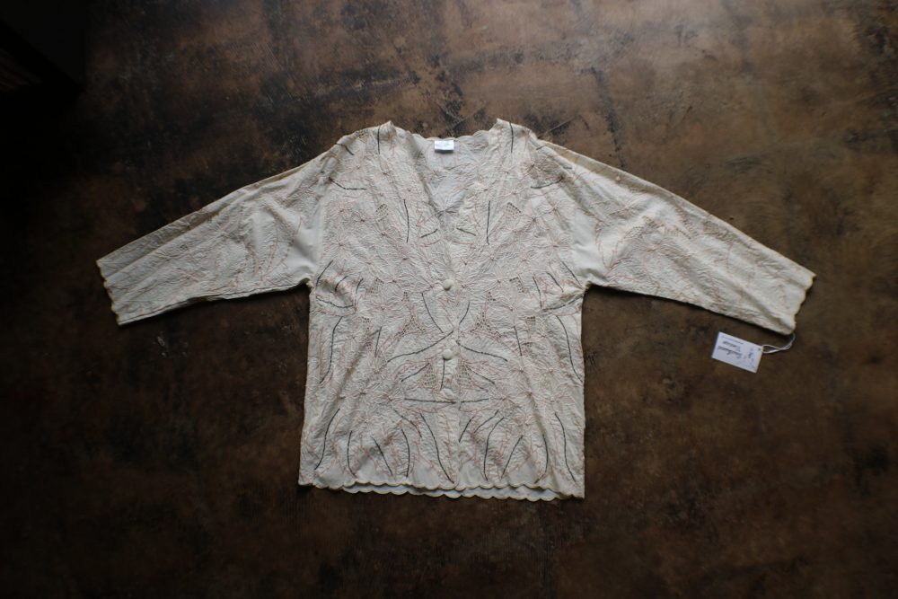 Cream Foliage Jacket/80's Embroidered Rayon Light Women's Vintage