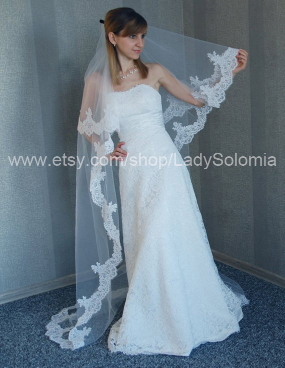 """Long Alencon Lace Veil, Light Ivory 2 Tier Veil With Lace, Cathedral Veil For Cord 120"""" Ready To Ship"""