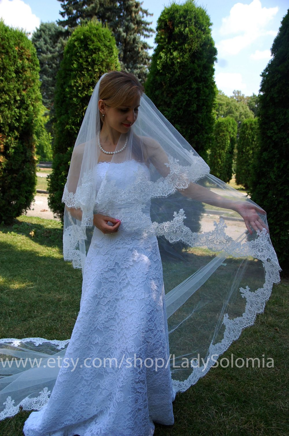 """Ready To Ship Ivory Cathedral Veil Alencon Lace 108"""" Length, Two Tier Veil, Wedding Cord Bridal Veil"""