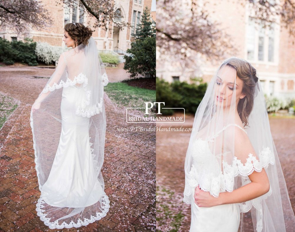 Chapel Lace Veil With Blusher, Two Layer Wedding Veil, Veil , 2 Tiers Veil, Two Custom