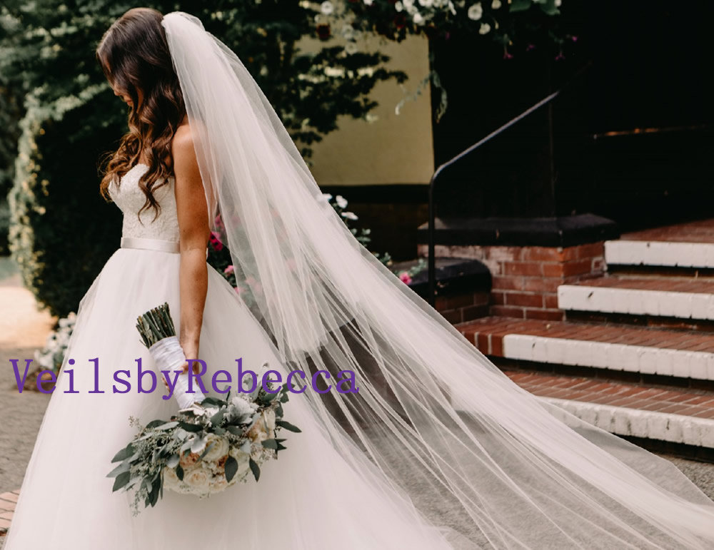 Soft Tulle Wedding Veil, Drop Tulle Cathedral Long Sheer Illusion Blusher Veil, 2 Tiers Veil V602