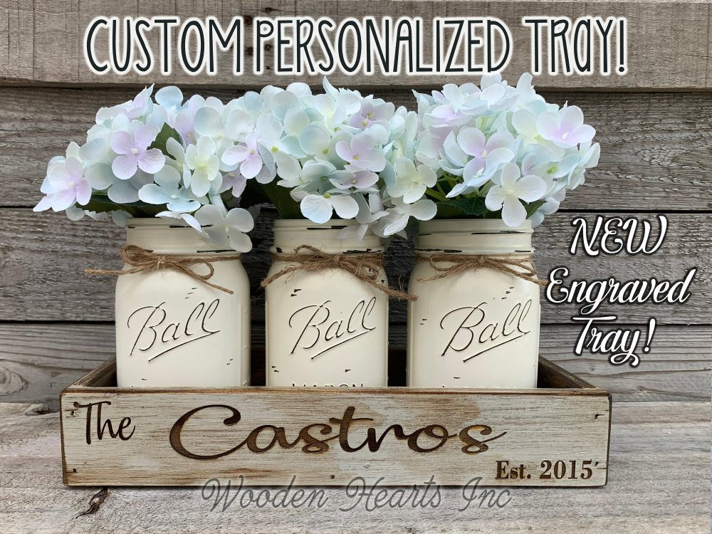 Personalized Engraved Dove Gray Custom Tray Wedding Table Centerpiece Kitchen Painted Pint Mason Jars Flowers Family Name Established Date