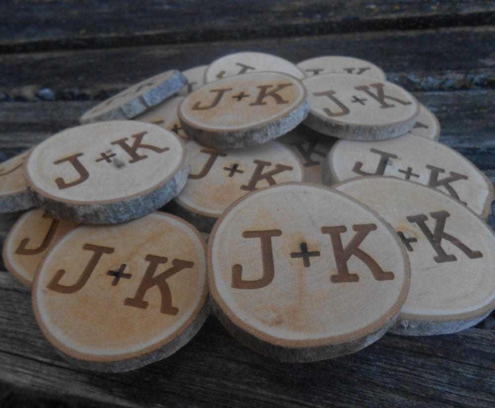 50 Personalized Initials Wood Rounds. Laser Cut, Rustic Wedding Vase Filler, Confetti. Monogram, Letter, Engraved