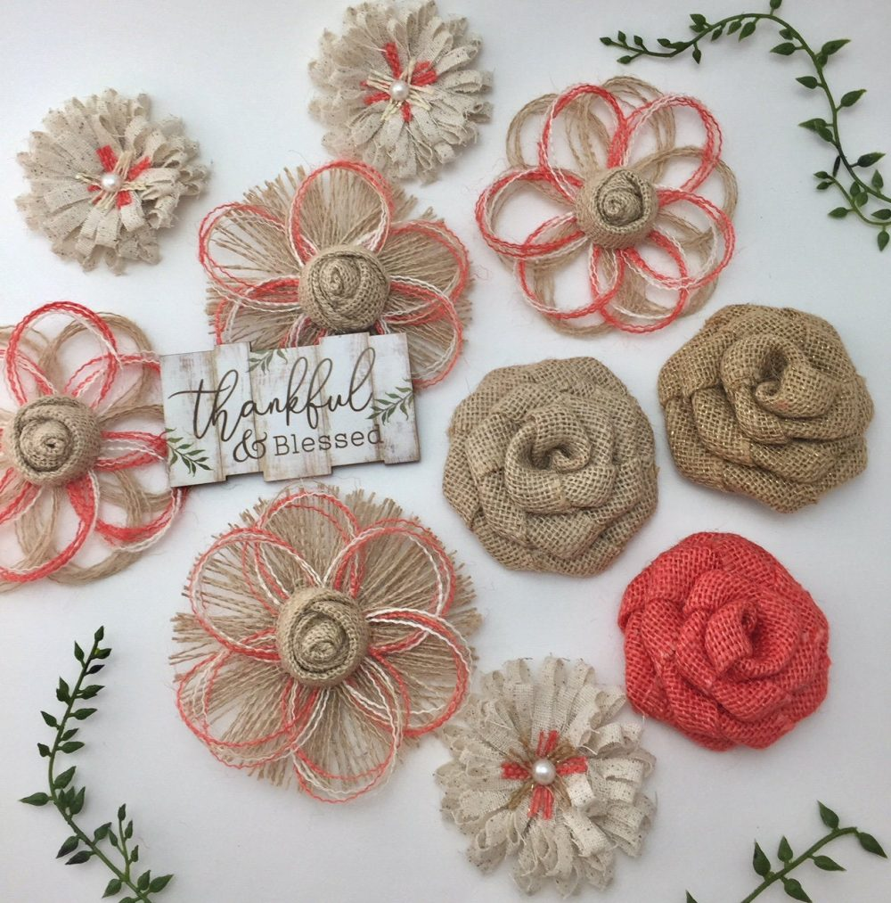 Coral Burlap Flower Set Of Ten - Rustic Wedding Decorations Centerpieces Mason Jars Wedding, Fall, Autumn, Flowers