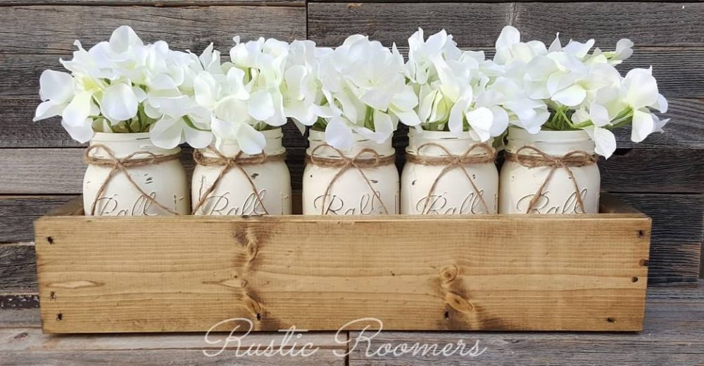 5 Mason Jar Planter Box, Mason Jars, Rustic Decor, Centerpiece, Rustic, Table Wood Home Farmhouse Decor