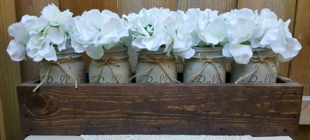 5 Jar Mason Planter Box, Mason Jars, Rustic Decor, Centerpiece, Rustic, Table Wood Home Farmhouse