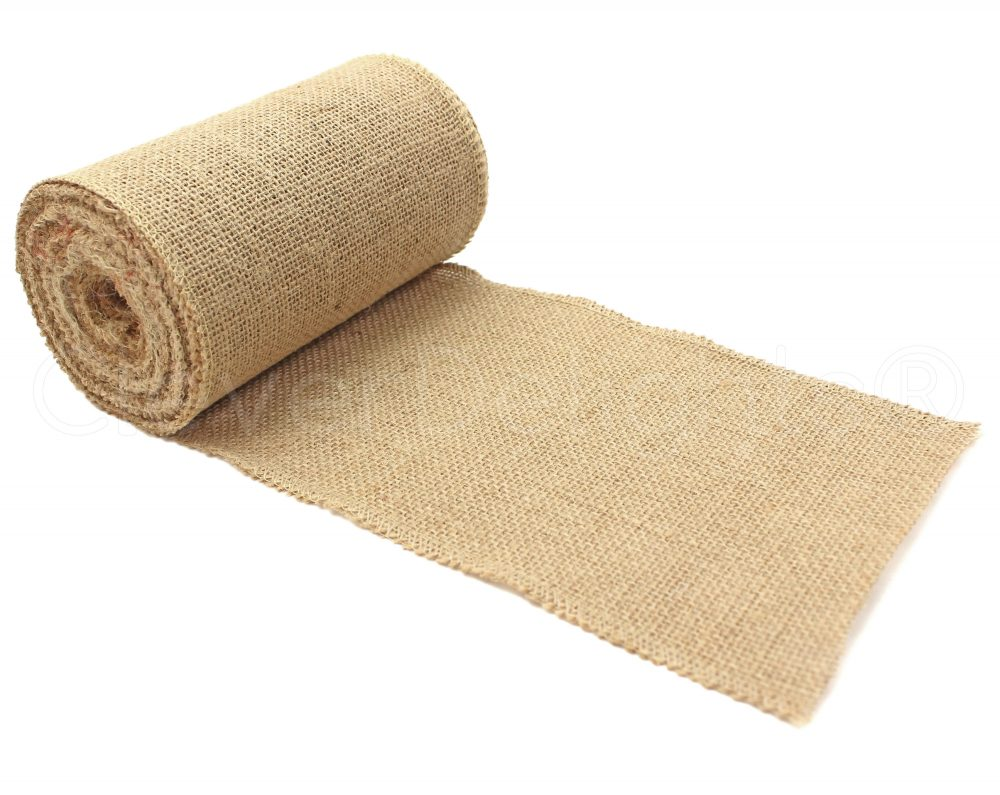 "10 Yards - 6"" Premium Burlap Roll Finished Edges Eco-Friendly Natural Jute Fabric For 6 Inch Table Runners & Rustic Decor"