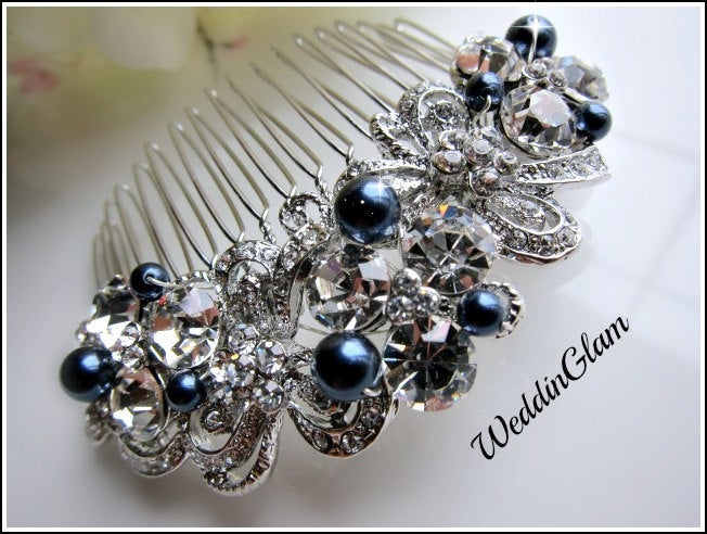 Bridal Hair Comb, Pearl Bridal Accessories, Wedding Crystal Vintage Comb, Bridal Jewelry