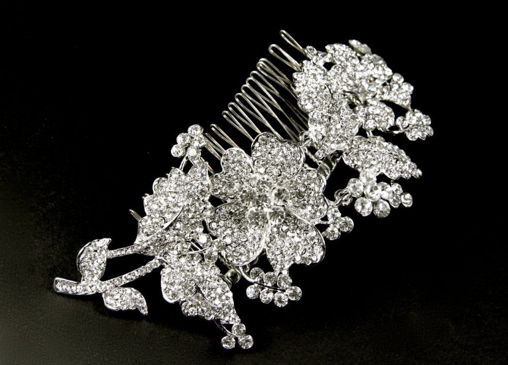Bridal Hair Comb, Crystal Bridal Comb, Wedding Veil Rhinestone Hair Vintage Comb