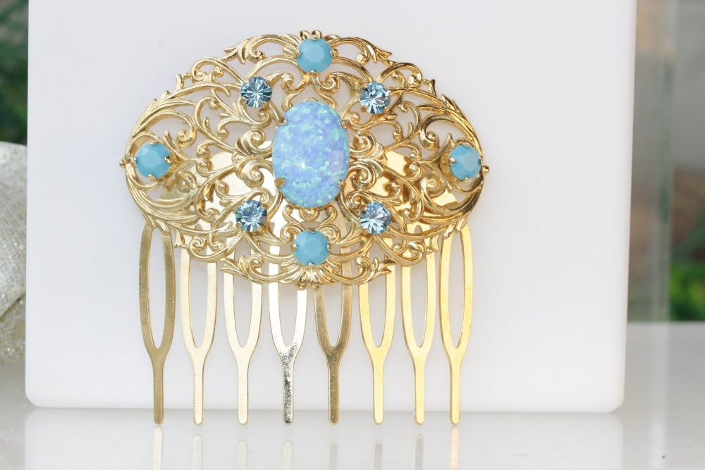 Blue Opal Hair Comb, Bridal Hair Rhinestone Lab Opal Accessories , Turquoise Swarovski , Wedding Piece, Vintage Comb