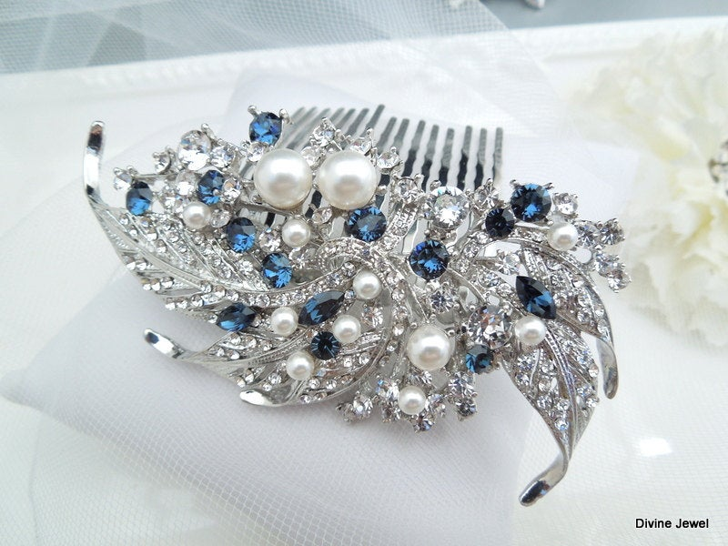 Wedding Hair Accessories, Comb, Bridal Comb Vintage, Pearl Rhinestone Clip, Etta
