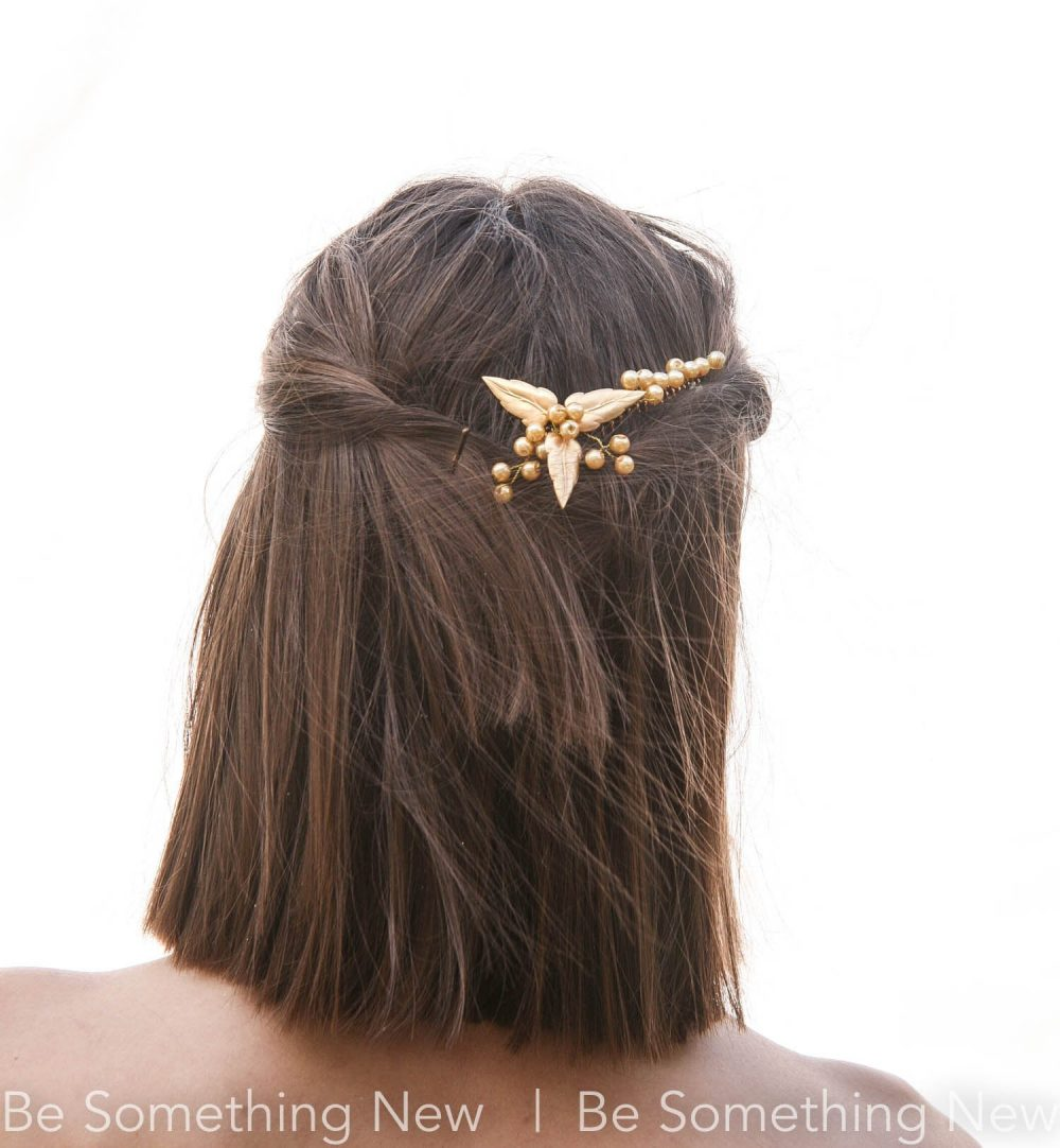 Gold Leaf Wedding Hair Decorative Comb With Metal Leaves & Pearls, Bridal Headpiece, Golden Accessory