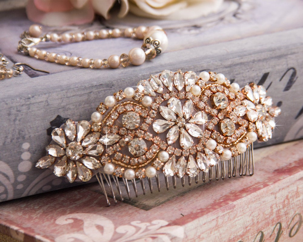 Wedding Hair Comb, Rose Gold Bridal Jewelry, Crystal Head Piece, Hairpiece