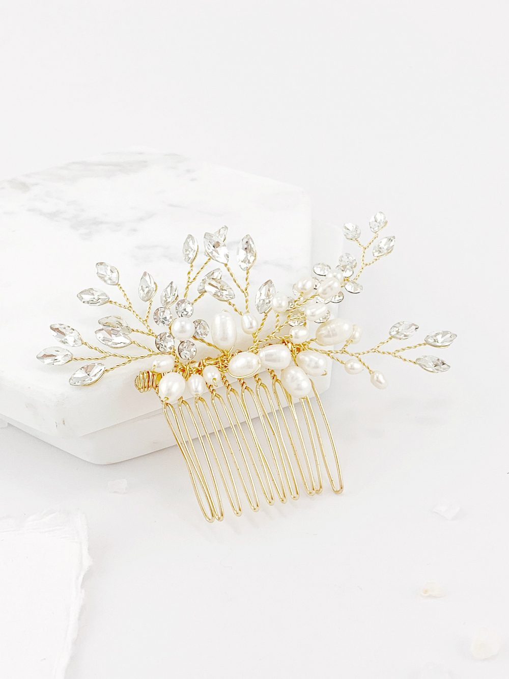 Pearl Headpiece, Wedding Hair, Gold Hair Comb, Bridal Hairpiece
