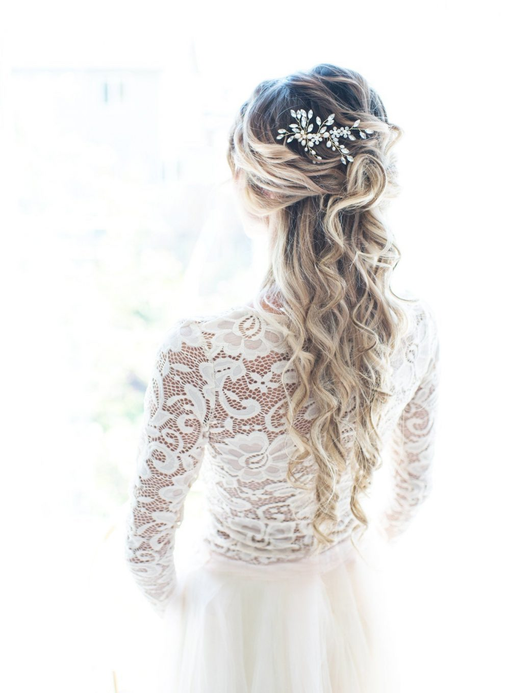 """Boho Wedding Hair Accessory Comb With Pearls & Marquise Crystals, Beach Rustic Country in Gold Or Silver """"Sadie"""""""