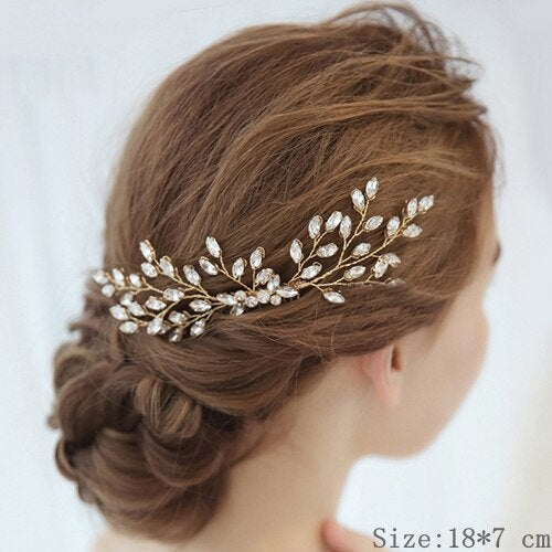Bridal Headpiece, Crystal Wedding Hair Vine Comb, Gold Wired Accessory Bridesmaid Headpiece Mother Of The Bride Gift
