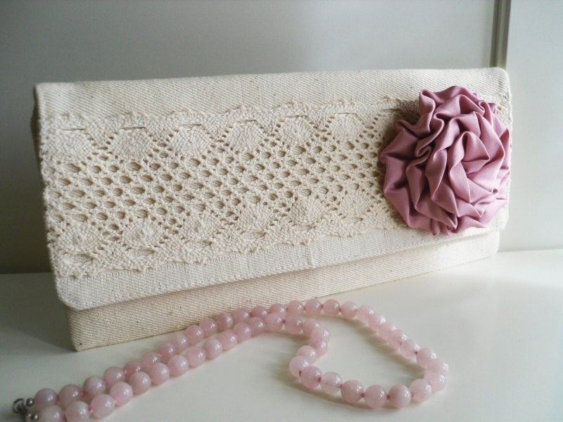 Rustic Ecru Beige Natural Linen Wedding Bridal Bridesmaid Organic Clutch Bag Handbag Envelope With Dusty Pink Satin Rose Flower Rosette