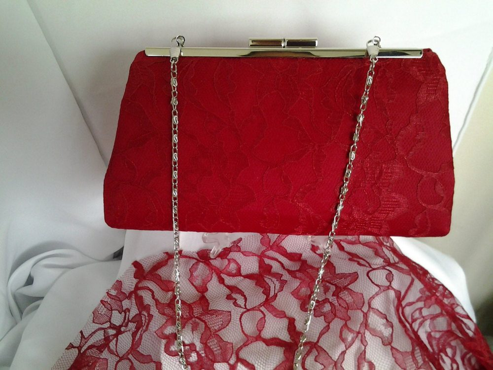 Red Lace Clutch Purse, Bridal Handbag, Red Bridal Bridesmaid Gift