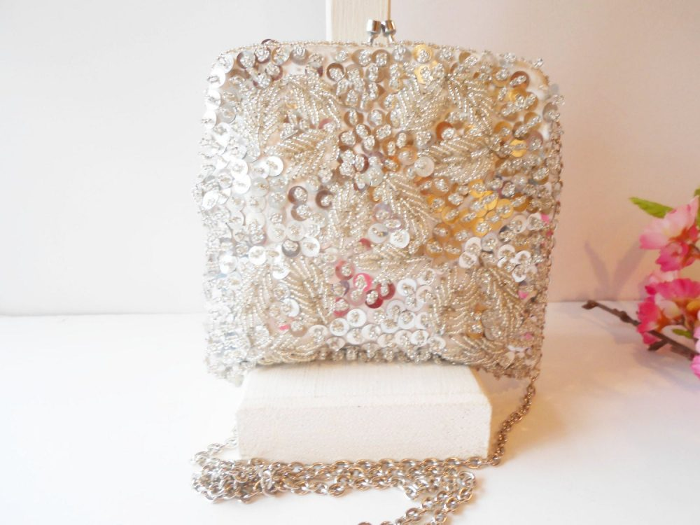 Vintage Silver Evening Bag, Glamorous Beaded Clutch Handbag, Wedding Bridal Eb-0046