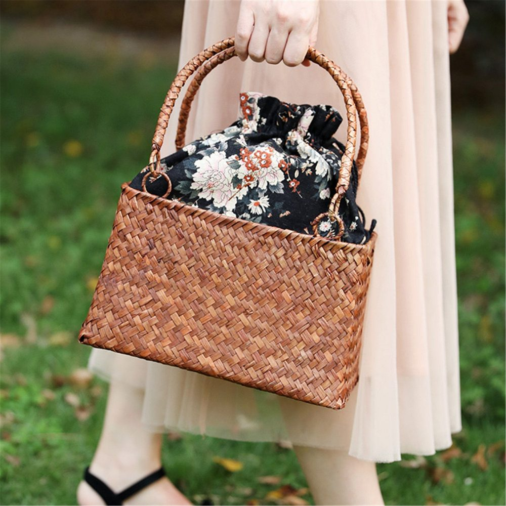 straw Woven Basket Bag With Lining, Wedding Bridal Bridesmaid Handbag, Wedding Bride Gift