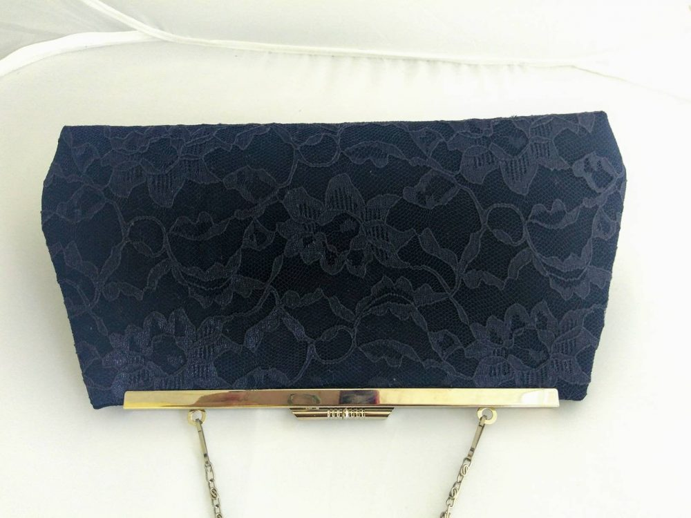 Navy Lace Clutch Purse, Navy Evening Bag, Blue Bridal Bridesmaids Gift, Mother Of The Bride, Handbag