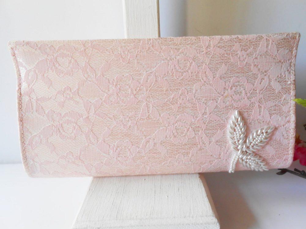Vintage Pink Lace Evening Bag, Romantic Clutch Bag With Pearl Trim, Wedding Bridal Eb-0574
