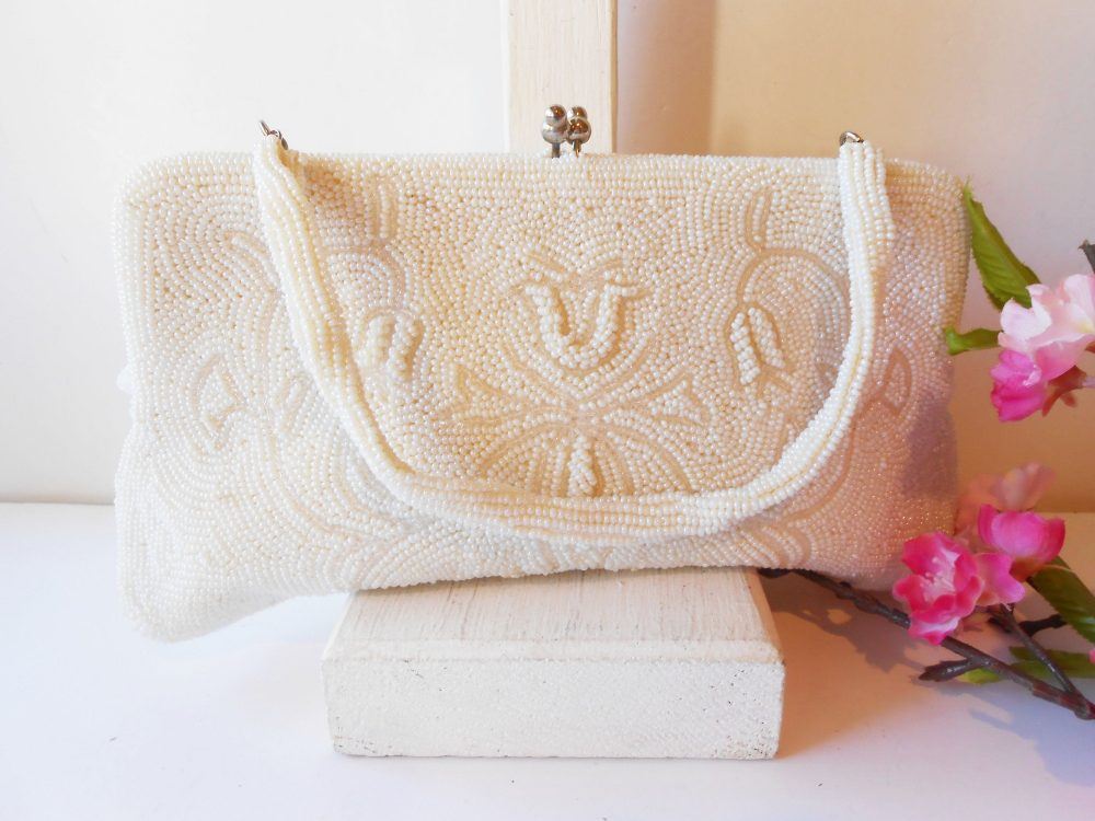 White Wedding Bag, Glam Beaded Handbag, Clutch Bead Purse, Made Japan Eb-0684