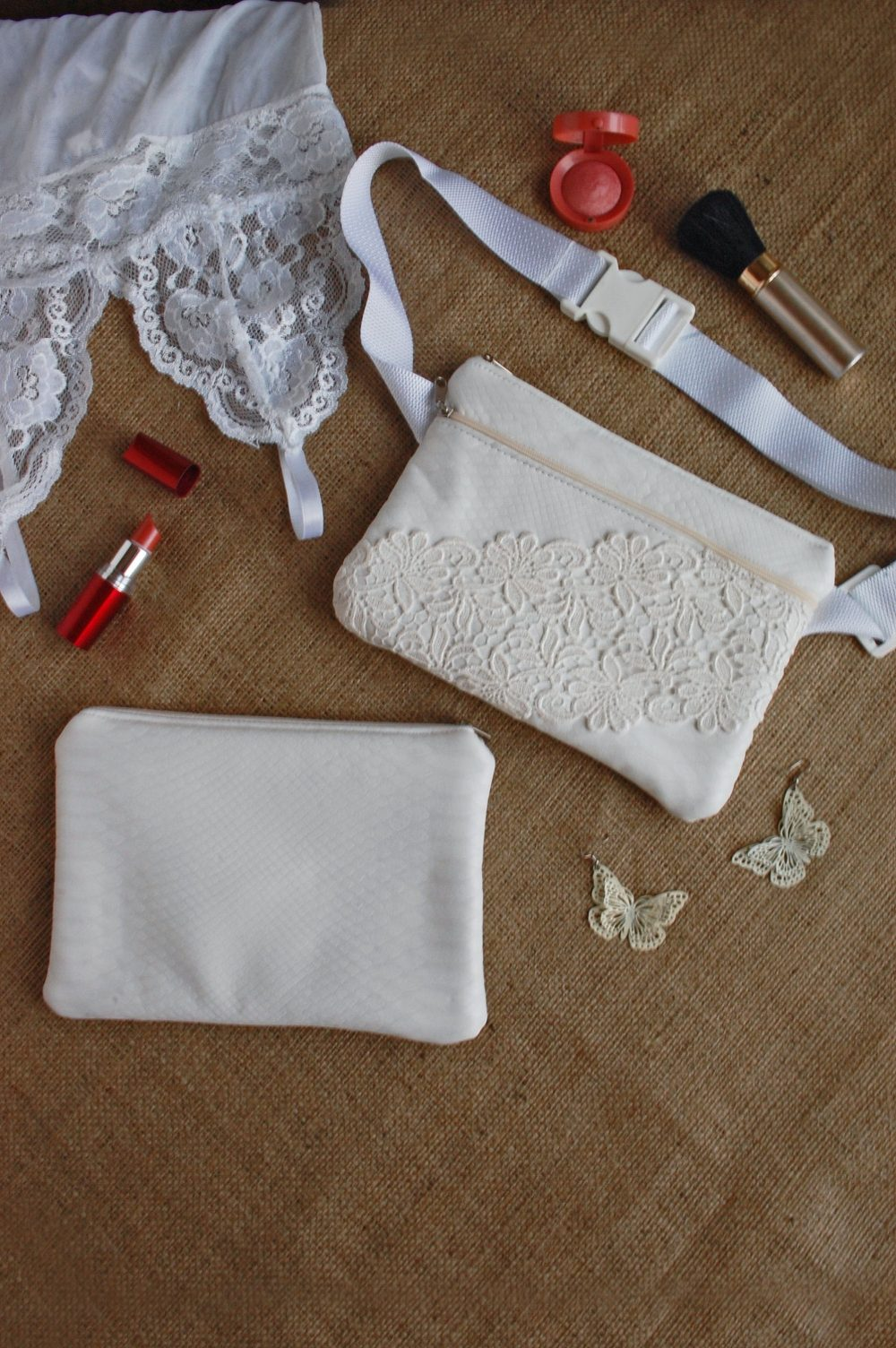 White Wedding Bag Set Of Fanny Pack & Laces Clutch, Matching Bags, Bridal Bridesmaid Waist Wallet Evening Handbag