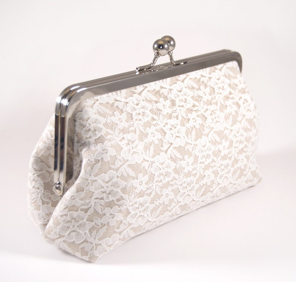 Champagne Lace Clutch, Lace Clutch, Ivory Wedding Purse, Bridesmaid Handbag