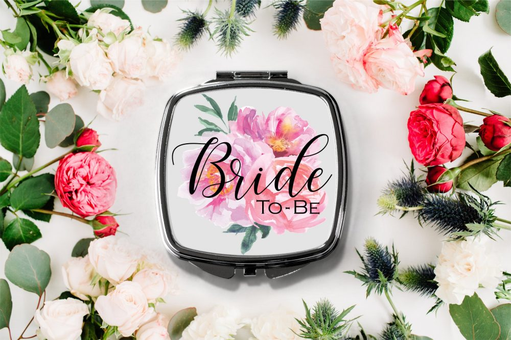 Floral Bride To Be Compact Mirror -Personalized Mirror, Bridesmaid Bridal Party Makeup