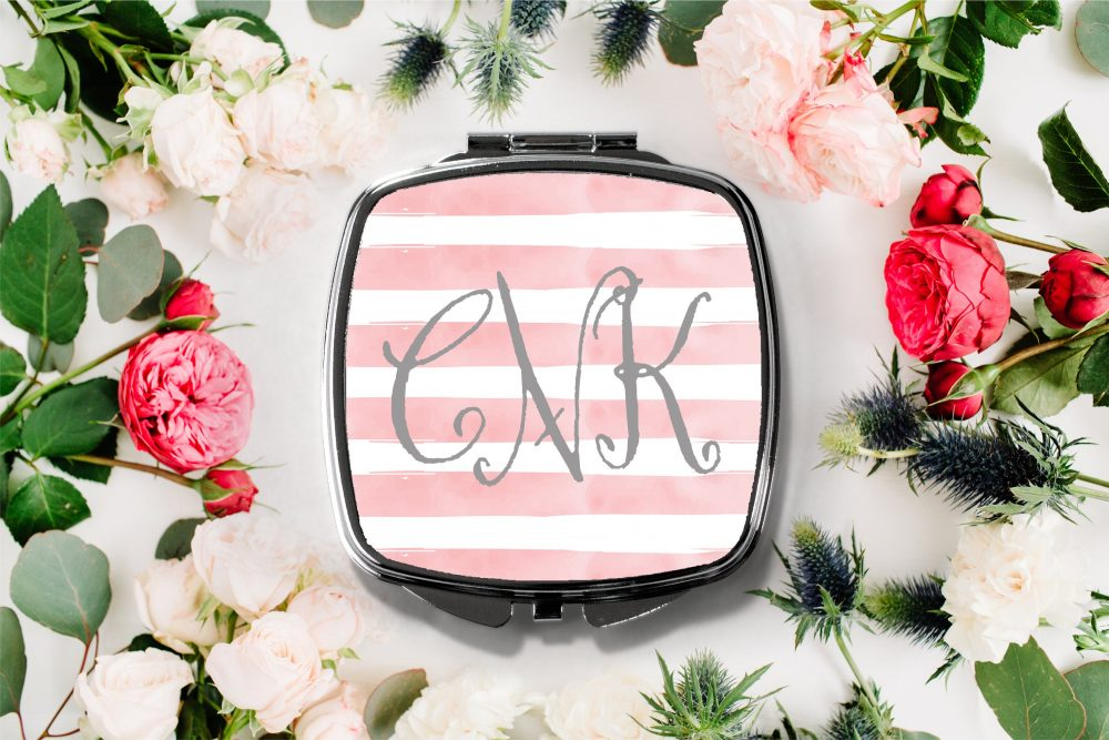 Fancy Monogram Stripe Compact Mirror -Personalized Mirror, Bridesmaid Bridal Party Makeup