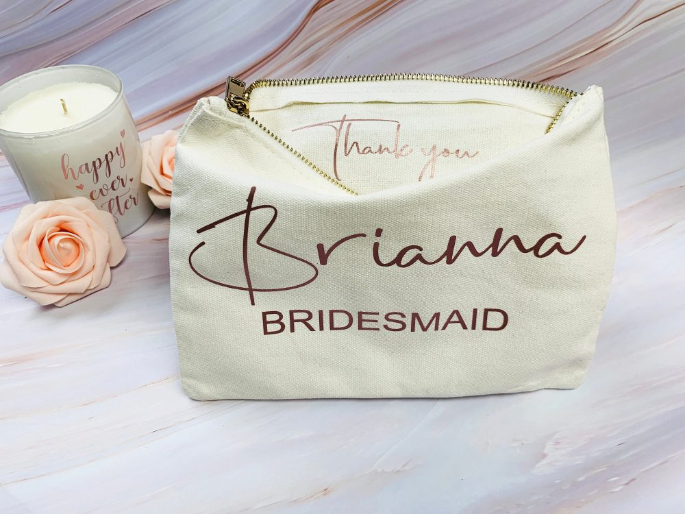 Personalize Bridesmaid Gift Makeup Bags Wedding Thank You Proposal Cosmetic Bag Toiletry Travel Pouch Organizer Rose Gold Foil Glitter