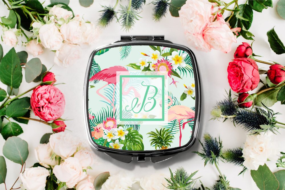 Flamingo Tropical Initial Compact Mirror -Personalized Mirror, Bridesmaid Bridal Party Makeup