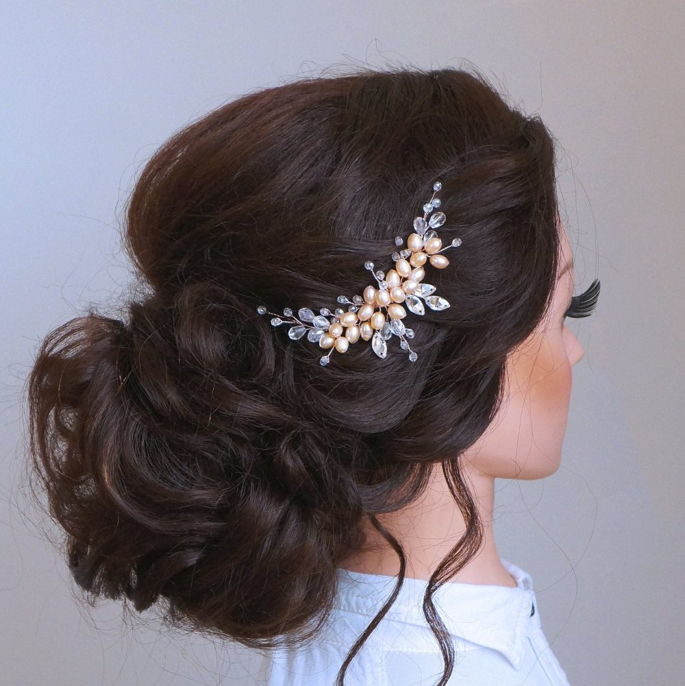 Rose Gold Bridal Hair Vine - Swarovski Crystal Weddind Comb-Hair Vine Bride -Bridal Headpiece-Wedding Hair Pearls Comb