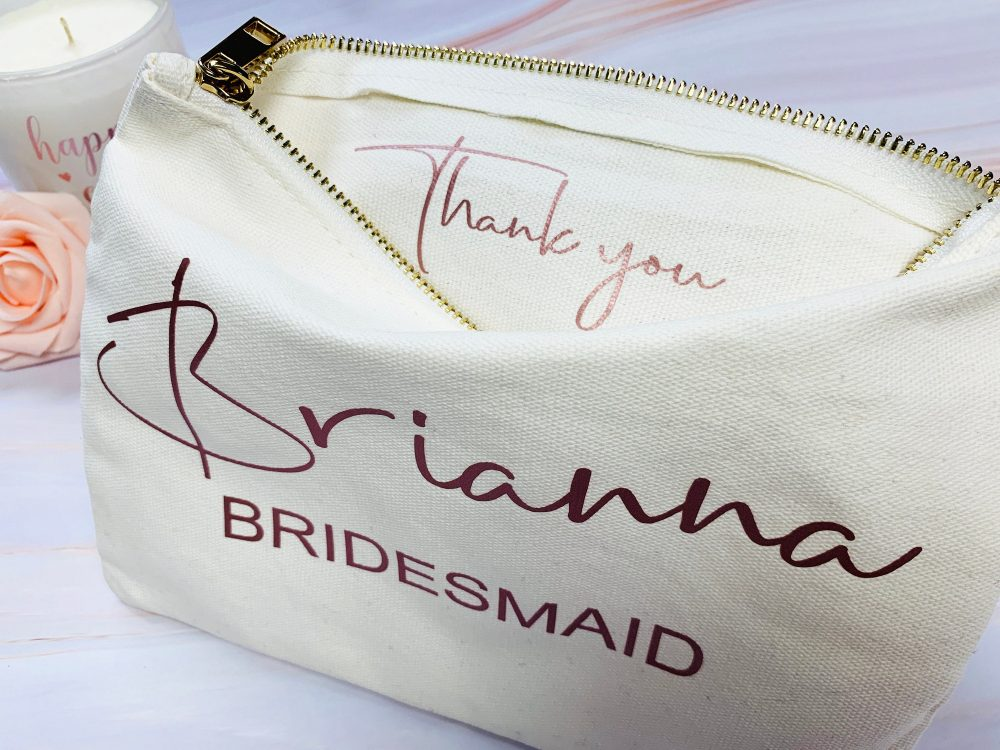 Personalize Bridesmaid Gift Makeup Bags Wedding Thank You Proposal Cosmetic Bag Toiletry Travel Pouch Organizer Set Of 2 3 4 5 6 7 8 9