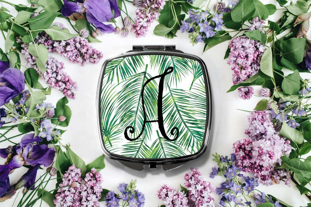 Tropical Palm Leaf Initial Compact Mirror -Personalized Mirror, Bridesmaid Bridal Party Makeup