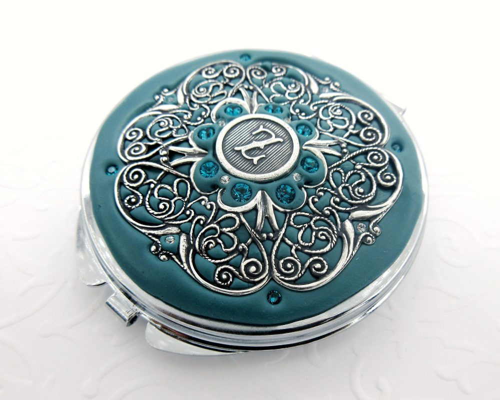 Teal   Bridesmaid Personalized Gift Teal & Silver, Wedding, Custom Compact Mirror , Wedding Party
