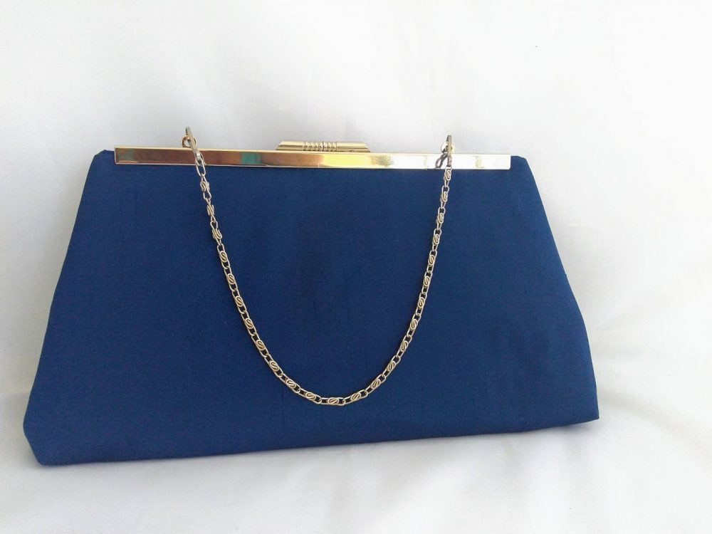 Navy Silk Clutch Purse, Blue Navy Evening Bag, Bridal Bridesmaids Gift, Mother Of The Bride, Handbag