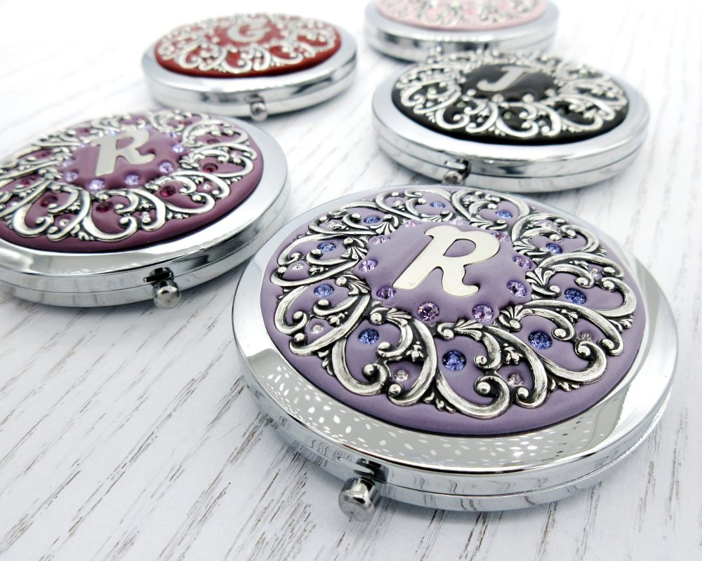 Pick Your Color | Personalized Bridesmaids Gifts Wedding Party Compact Mirrors Custom Real Swarovski Crystals
