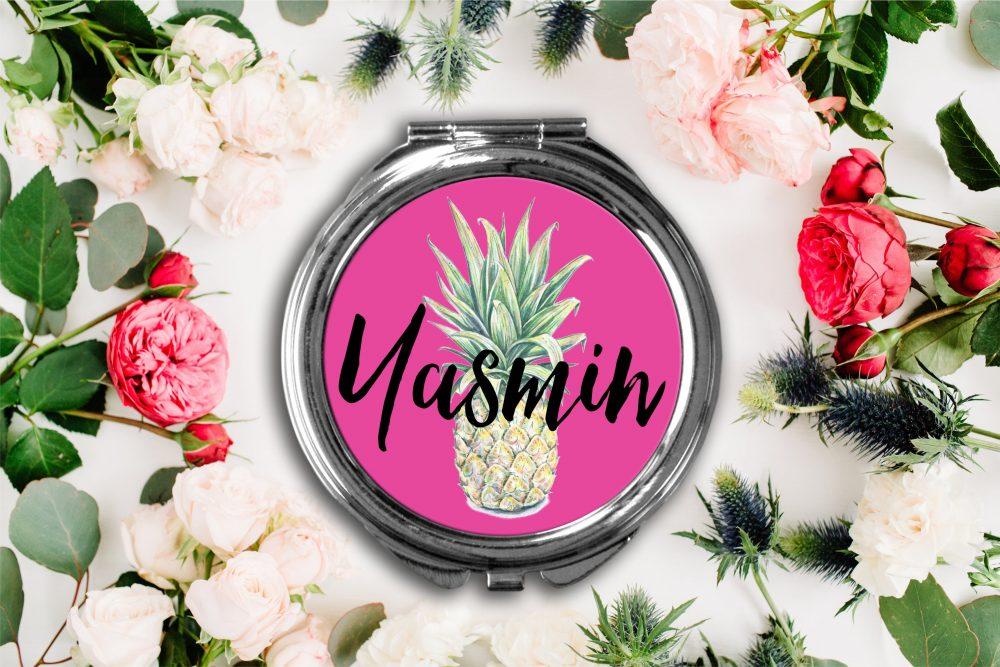 Personalized Funky Pineapple Compact Mirror -Personalized Mirror, Bridesmaid Bridal Party Makeup
