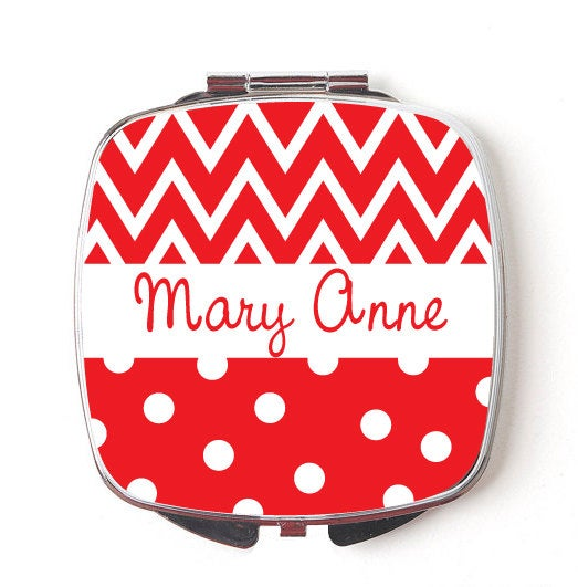 Custom Bridesmaids Gifts, Personalized Compact Mirror, Red Chevron & Polkadot Design, Wedding Party, Makeup Mirror