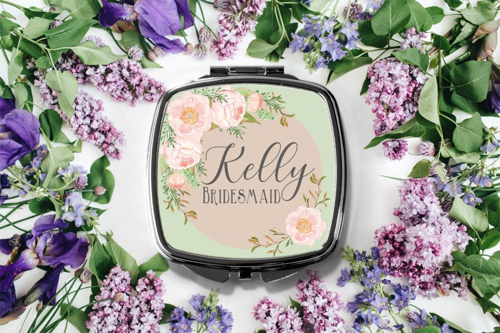Personalized Floral Frame Compact Mirror -Personalized Mirror, Bridesmaid Bridal Party Makeup