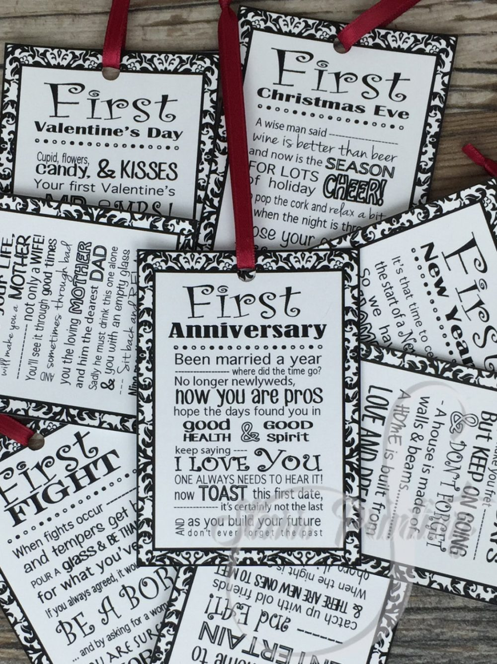 8 Tags With Color Ribbon Options Or Twine Printed Item Set Of Bridal Shower Wine Tags Poems | With Without Shower Card