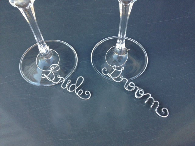 Bride & Groom Wine Glass Charms, Wedding Glass Tag, Shower Gift, Bachelorette Party