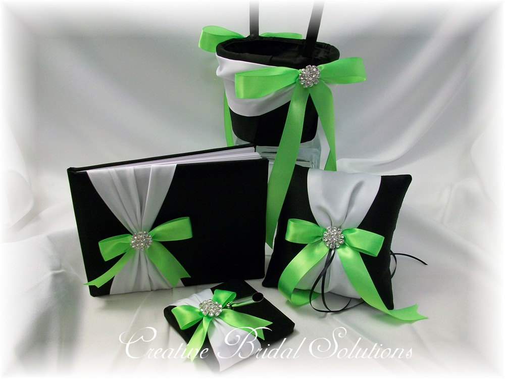 Black & White With Neon Green Wedding Flower Girl Basket, Ring Pillow, Guest Book, Pen